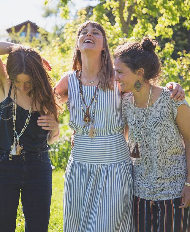 . This is a glimpse into the Uplift Skillshare Gathering hosted on Orcas Island by @sistersofthetide . It was an absolute honor to be a part of such a sacred and divine gathering of women.  Thank you Great Spirit for the incredible Love and awakening. . Also, very grateful to see these @bodylovecare Pegasus Necklaces worn so beautifully on @odelae & @janegraymoose .  The one I am wearing went home with @burymeinthegarden ❤️❤️❤️ Photo taken by the lovely @janestoller 🙌🏽✨ . #handmade #handmadejewelry #handmadenecklace #bodylove #mala #pegasus #bodylovecare #necklaces #naturelove #sistersofthetide #orcasisland #washington