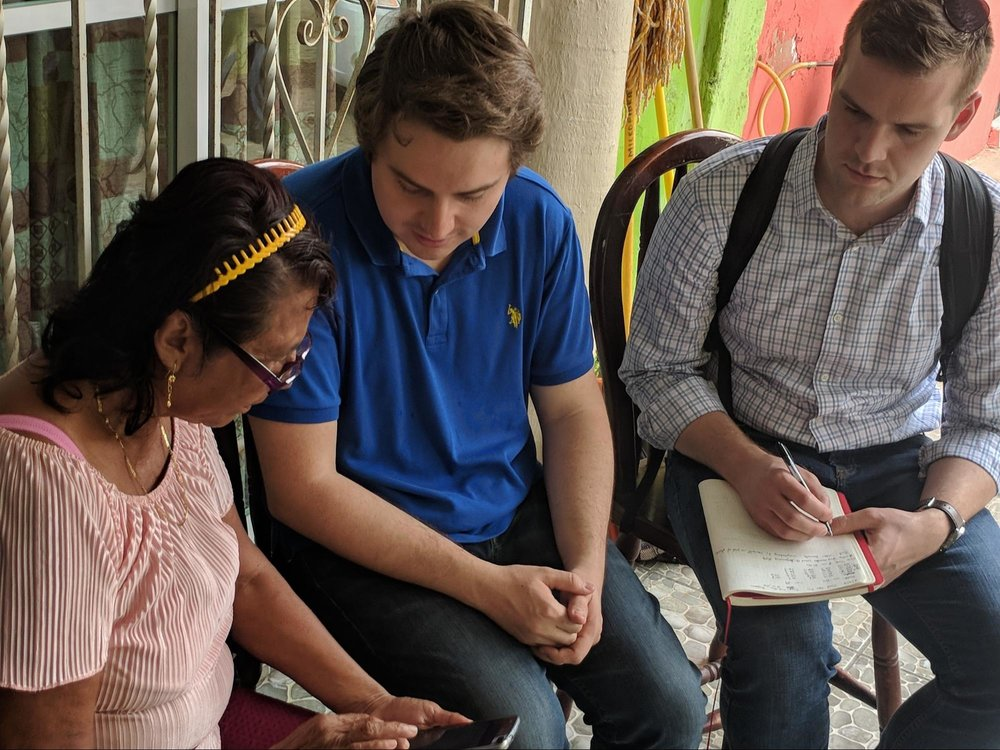 While Jonathan takes notes, Gerardo helps an applicant navigate our psychometric assessment on a mobile device. An essential component of our field work was to get direct usability feedback from applicants as they completed new psychometric content.