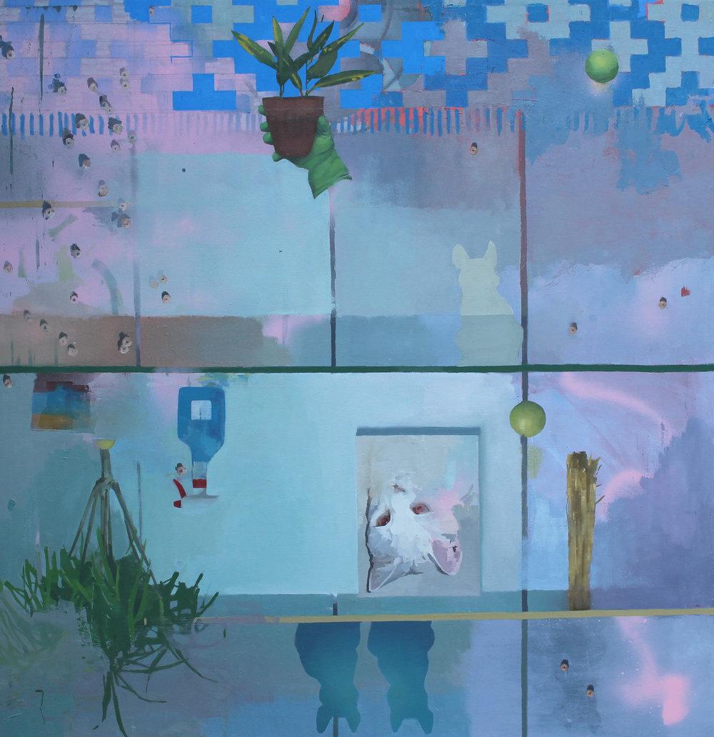 "Shelves III,  54"" x 54"", oil on canvas"