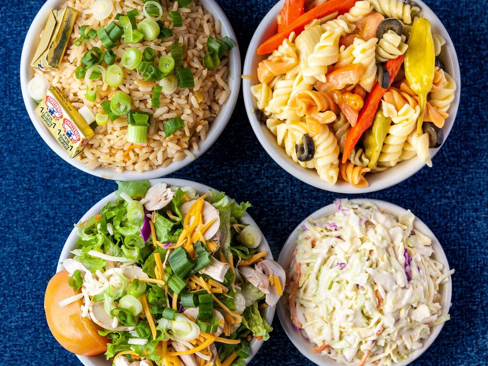 Sides: Rice, Pasta Salad, Cole Slaw, Green Salad