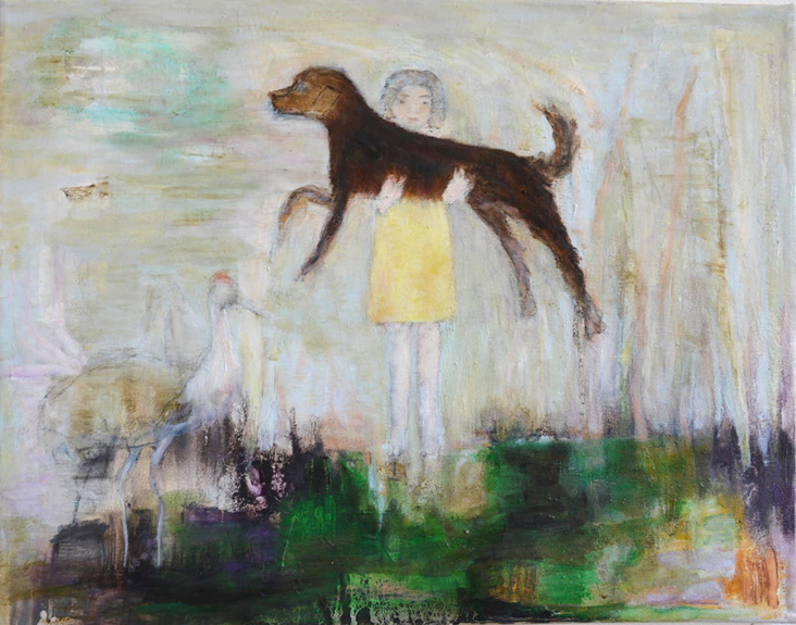 Dogwalk, 2014, oil on wood,18x15.jpg