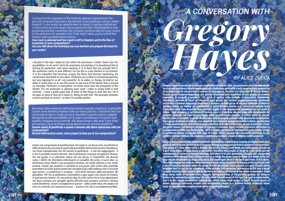 Excerpt from XIBT Magazine's spread on Gregory Hayes, 2018