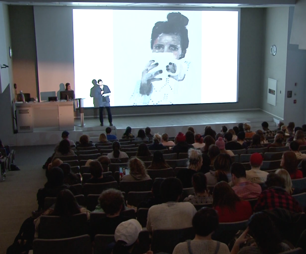Video still from Aubrey Levinthal's lecture, 2018