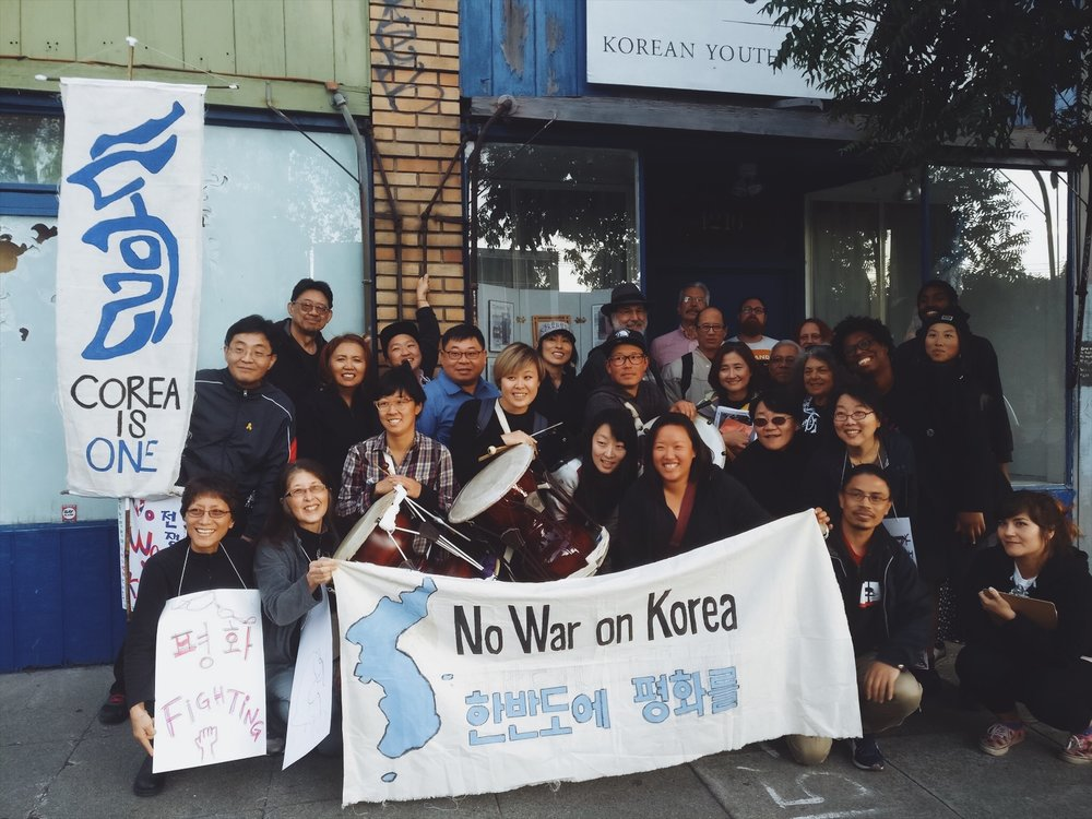 peace/reunification - This work is held in the Stop THAAD / Anti-War committee to continue HOBAK's ongoing work for peace and reunification, and continuing to build relationships with people engaged in anti-base struggles in Korea and other anti-imperialist diasporic communities in the Bay. (image from fall 2017 #KoreanPeace 'First Friday' action in Oakland)