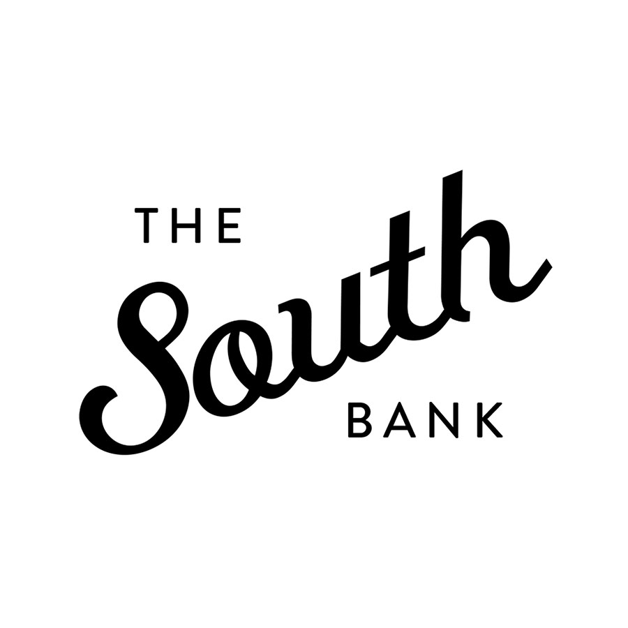 Identity for the SOuth bank, a complex of Restaurant, bar, and retail spaces in San Antonio's famed riverwalk.