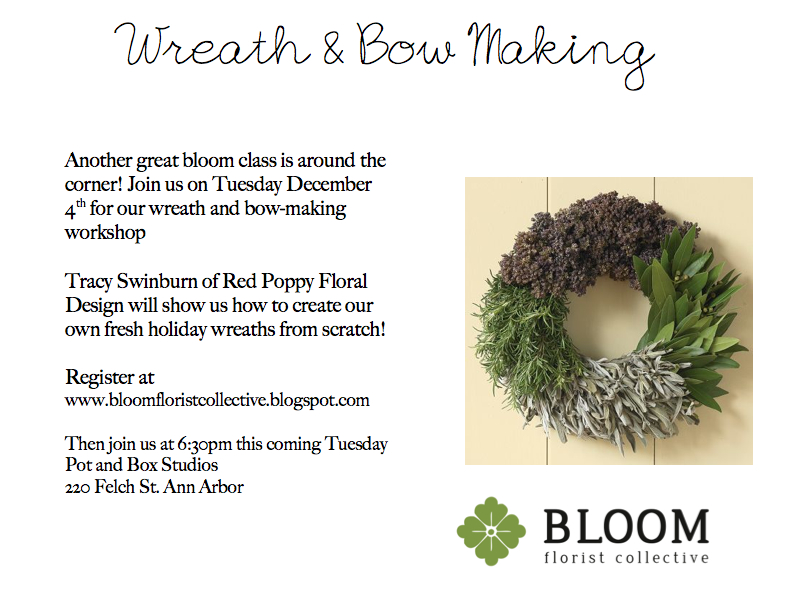 Bloom wreath floral design class