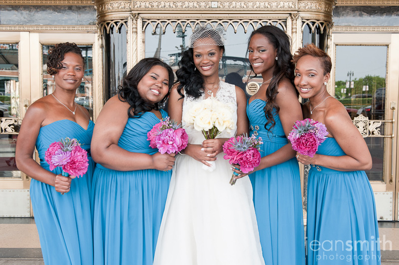 modern wedding flowers teal bridesmaids