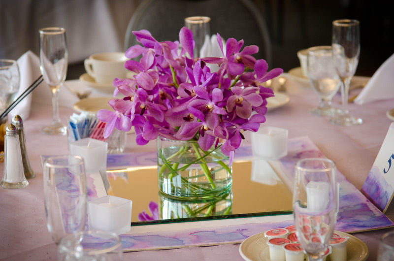 purple mokara orchid wedding centerpieces