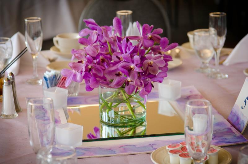 purple mokara orchid wedding centerpieces