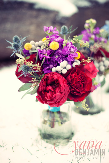 winter bouquet in red purple yellow blue