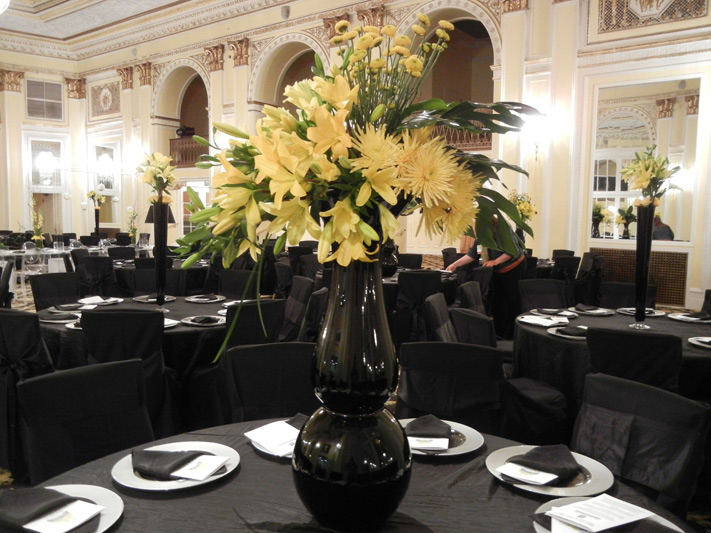 michigan floral association centerpieces yellow black