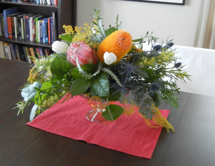 centerpiece from bloom florist collective floral design class ann arbor michigan