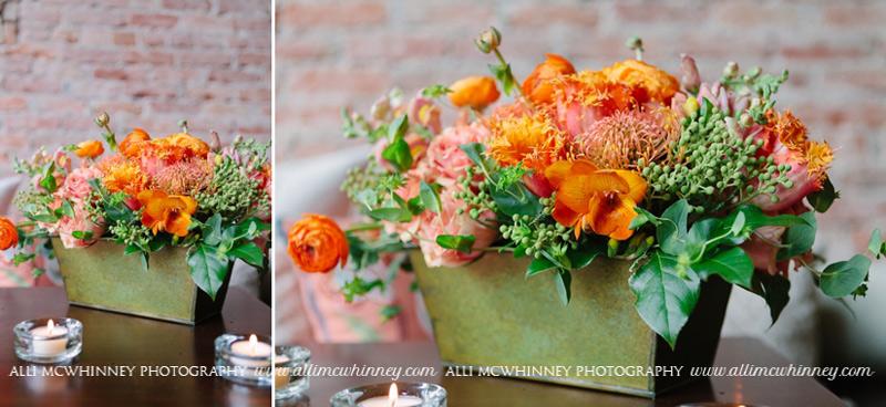 orange and peach flower arrangement