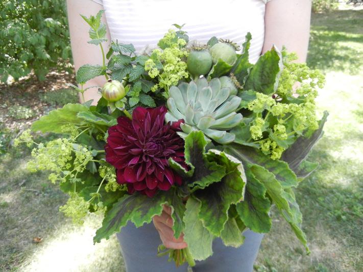 wedding bouquet green herb