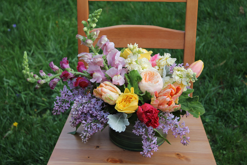 bright spring wedding centerpiece at gandy dancer ann arbor