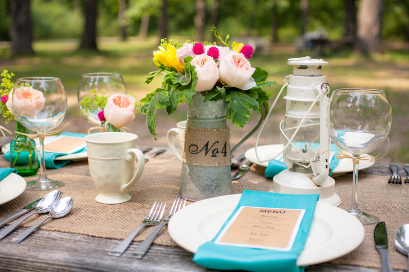 outdoor camping wedding centerpiece flowers