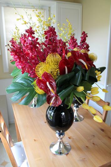 flower centerpiece modern red yellow black