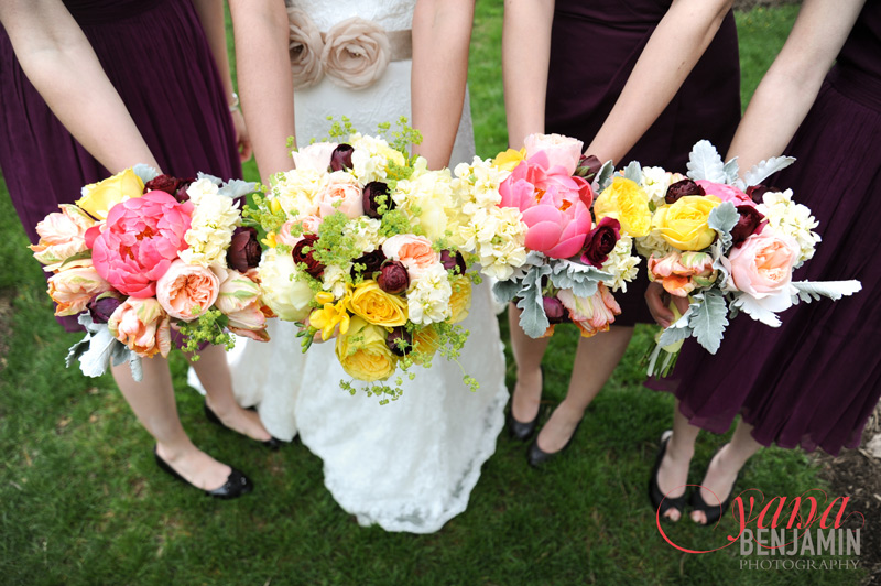 spring burgundy and yellow wedding flowers in Ann Arbor Michigan