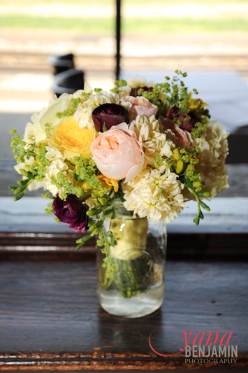 spring bride bouquet in yellow and burgundy