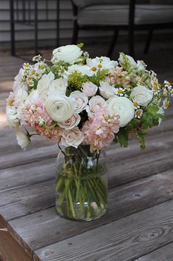 summer bouquet pink peach white flowers