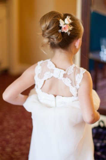 pink and white flower girl hair flowers