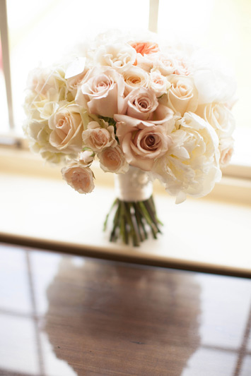 blush, pale pink, white, ivory wedding bouquet at The Dearborn Inn