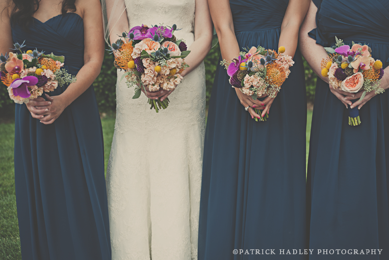 autumnal bridal party wedding flowers