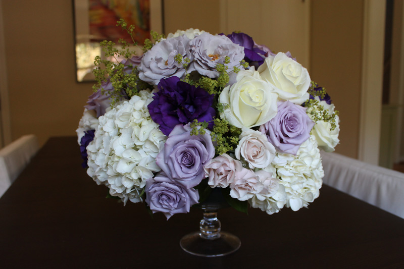 dusty lavender and ivory wedding centerpiece