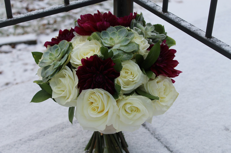 winter wedding bouquet burgundy white and green