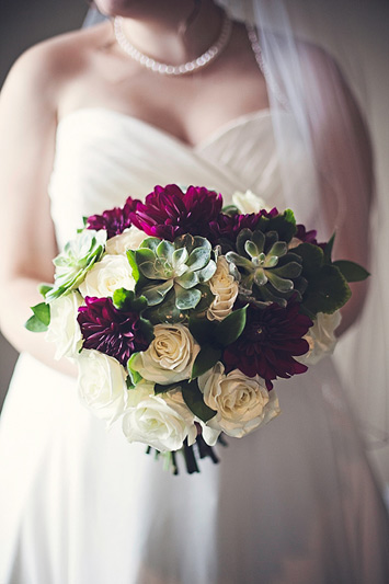 winter wedding bouquet of succulents and dahlias