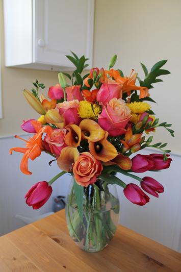 red orange yellow flower bouquet