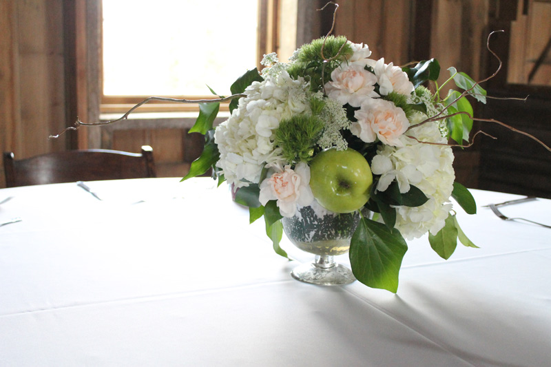 natural flower centerpiece at michigan barn wedding