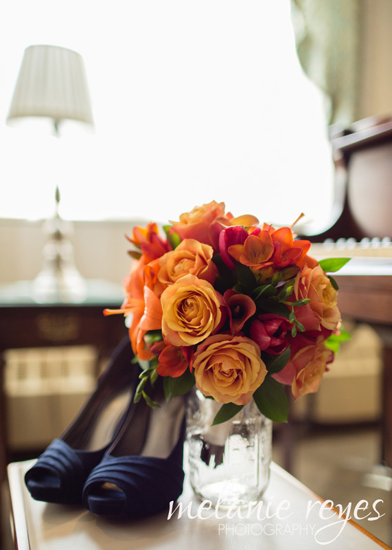 red orange yellow bridal bouquet