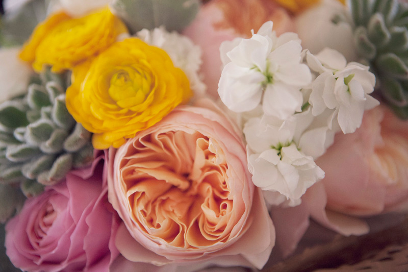 peach, white, yellow wedding flowers