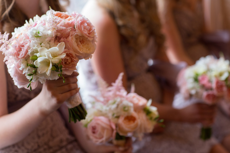blush pink ivory and white bridesmaids bouquet