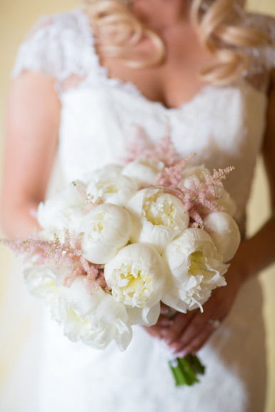 bride bouquet of white peonies and pale pink astilbe