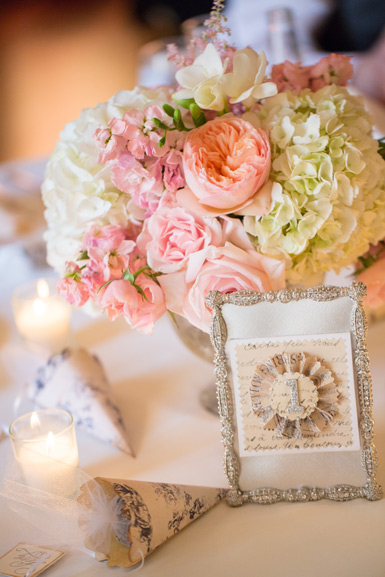 blush pink peach and white wedding centerpiece