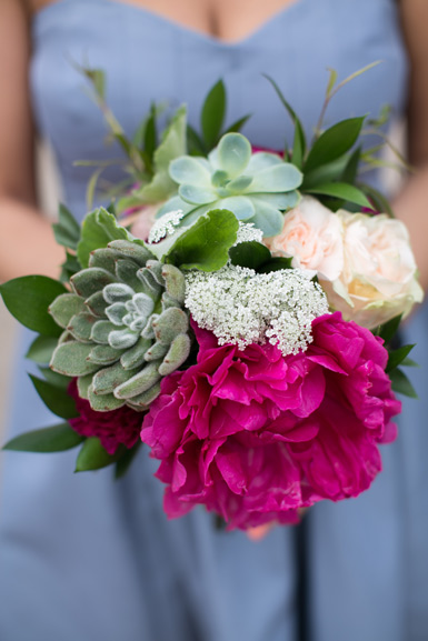 wedding flowers in pink, peach and ivory with succulents