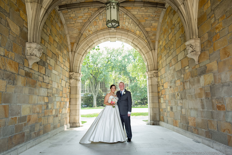 university of michigan wedding with peach and blush flowers
