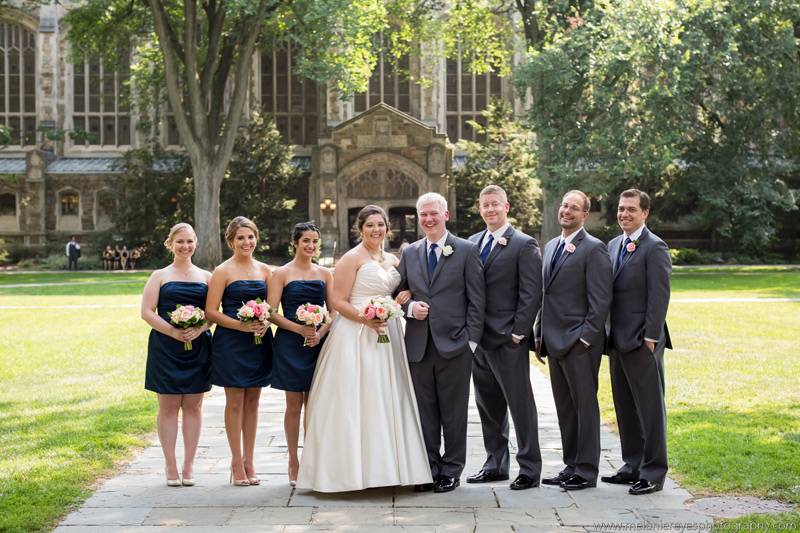 university of michigan wedding bridal party wedding flowers in blush and peach