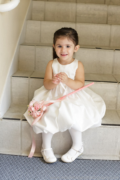 flower girl wand of pink spray roses