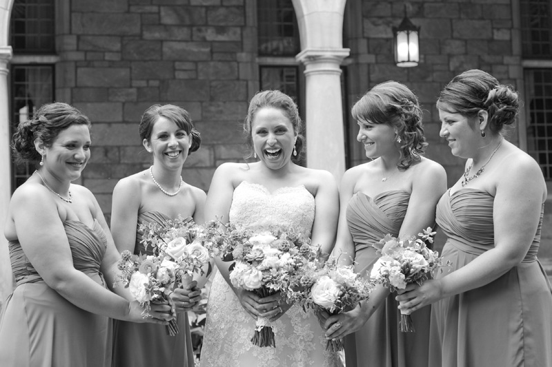 bridal party at michigan league wedding