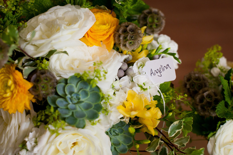 bridal bouquet in ivory and yellow with succulents