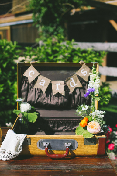 vintage suitcase wedding card table display