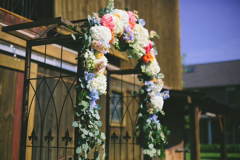 flower arch at misty farm wedding ann arbor