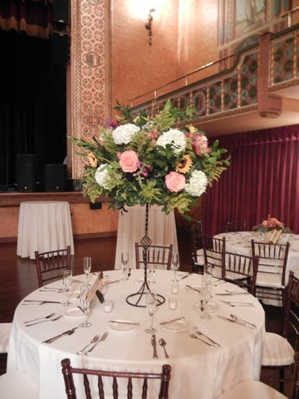 wedding flower centerpieces at the Gem theater detroit