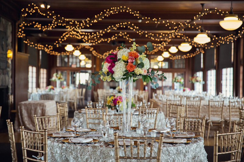 elevated wedding flower centerpiece at waldenwoods wedding