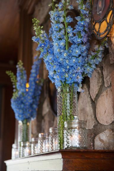 blue delphinium mantle decor