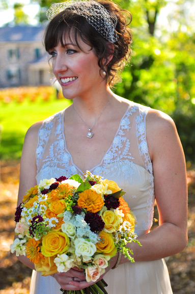 bride's bouquet autumn wedding at cobblestone farm