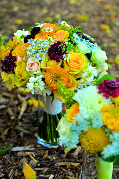 yellow burgundy cream bridal bouquet